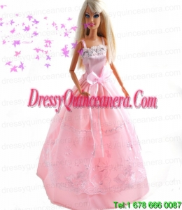 Bowknot Embroidery Princess Pink Barbie Doll Dress