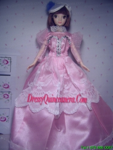 Cute Rose Pink Party Clothes Taffeta Beautiful Dress for Noble Barbie Doll
