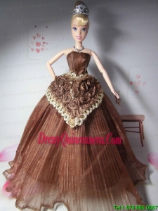 Elegant Hand Made Flowers Brown Made to Fit the Barbie Do