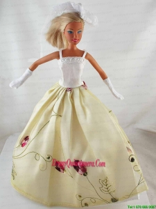 Elegant Princess Dress With Embroidery Gown For Barbie Doll