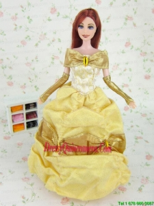 Elegant Yellow Party Clothes Fashion Dress Organza for Noble Barbie Doll