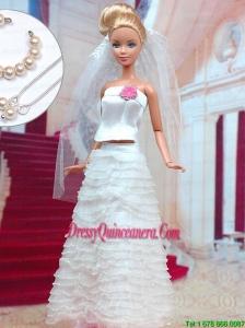 Fashion Handmade Organza Barbie White Wedding Dress For Barbie Doll