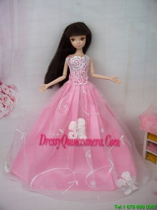 Fashionable Embroidery Pink Princess Barbie Doll Dress