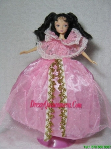 Gorgeous Pink Gown Handmade Dress For Barbie Doll