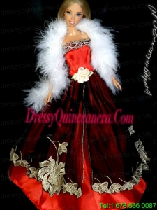 Gorgeous Red and Burgundy Princess Dress With Embroidery Gown For Barbie Doll