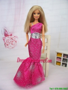 Luxurious Mermaid Asymmetrical Hot Pink Beaded Over Skirt Party Clothes Fashion Dress For Noble Barbie