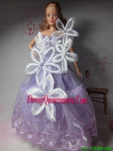 Pretty Party Clothes Lilac Beautiful Dress Tulle for Noble Barbie Doll