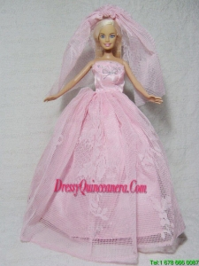 Romantic Pink Wedding Dress With Beading Made to Fit the Barbie Doll