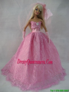 Romantic Rose Pink Strapless Lace Wedding Dress For Barbie Doll