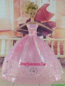 Sweet Pink Handmade Dress With Sequins For Barbie Doll