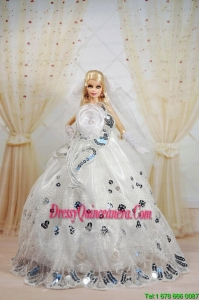 Amazing Ball Gown Dress For Noble Barbie With Sequin and Hand Made Flowers