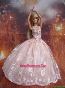 Ball Gown Lace and Appliques Baby Pink Handmade Dresses Fashion Party Clothes Gown Skirt For Barbie Doll