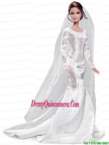Elegant Handmade White Barbie Satin Wedding Dress For Barbie Doll