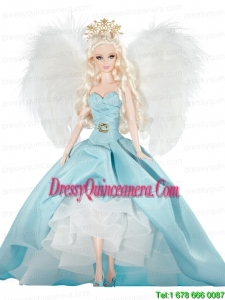 Elegant Party Dress with Blue Taffeta Made to Fit the Barbie Doll