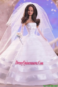 Fashion Handmade Barbie White Organza Wedding Dress For Barbie Doll