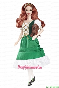 Lovely Handmade Holiday Dress Green Taffeta Barbie Doll Dress