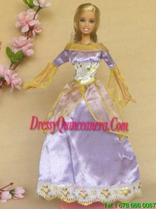 New Beautiful Lilac Long Sleeves Handmade Party Clothes Fashion Dress For Noble Barbie