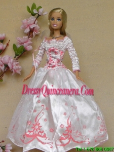 New Beautiful White Long Sleeves Handmade Wedding Party Clothes Fashion Dress for Noble Barbie