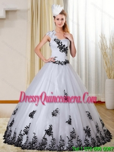 Cheap One Shoulder White and Black Quinceanera Dress with Appliques for 2015