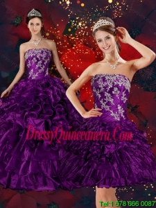 2015 Detachable Strapless Quinceanera Dress with Embroidery and Ruffles