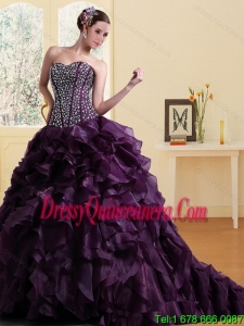 2015 Detachable Sweetheart Burgundy Quinceanera Dress with Ruffles and Beading