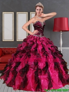 2015 Detachable Sweetheart Multi Color Quinceanera Dress with Beading and Ruffles