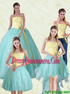 2015 Strapless Floor Length Multi Color Quinceanera Gown with Bowknot