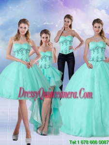 Detachable Apple Green Sweetheart 2015 Quinceanera Dress with Appliques and Beading