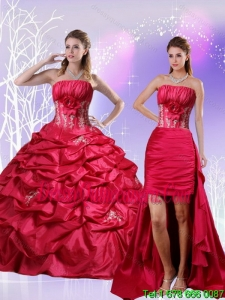 Detachable Appliques and Pick Ups Quinceanera Dress in Red
