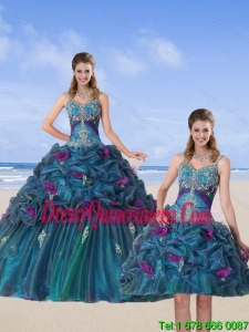 Detachable Multi Color 2015 Quinceanera Gown with Hand Made Flower and Pick Ups
