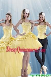 Detachable Strapless 2015 Strapless Beading Quinceanera Dresses