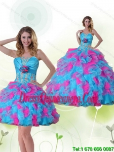 Detachable Strapless Detachable Quinceanera Dress with Appliques and Ruffles