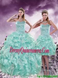 2015 Detachable Beading and Ruffles Aqual Blue Quince Dresses