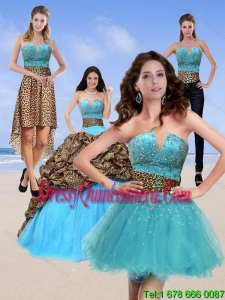 2015 Detachable Leopard Print Baby Blue Quinceanera Dresses with Brush Train and Beading