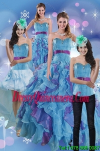 2015 Detachable Multi Color Dresses for Quince with Ruffles and Beading