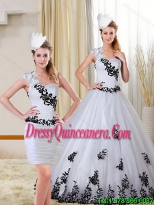 2015 Detachable One Shoulder Sweetheart White and Black Quinceanera Dress with Appliques
