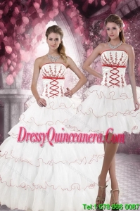 2015 Detachable White Quince Dresses with Appliques and Ruffled Layers