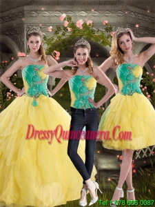 2015 Detachable Yellow and Green Quince Dresses with Ruching