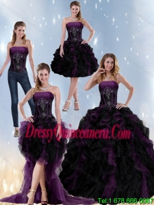 Detachable Multi Color Strapless Quinceanera Dresses with Beading and Ruffles