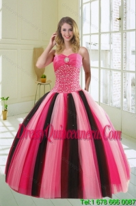 Detachable Multi Color Sweetheart Beading Quince Dress for 2015