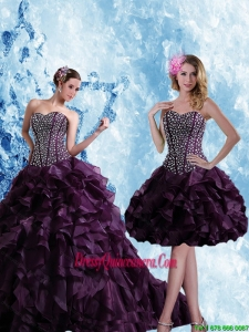 Exclusive Sweetheart Burgundy Quinceanera Dress with Ruffles and Beading