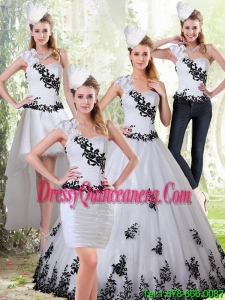Exclusive White and Black Sweetheart 2015 Quinceanera Dress with Black Embroidery