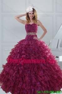 Luxurious Beading and Ruffles Quinceanera Dresses in Burgundy