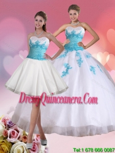 2015 Perfect Beaded Sweetheart Sweet 15 Dresses in White and Blue