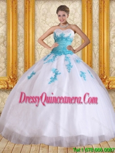 2015 Pretty Sweetheart Floor Length Quinceanera Dress in White and Blue
