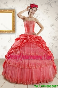 2015 Vintage Strapless Coral Red Quinceanera Dresses with Pick Ups and Beading