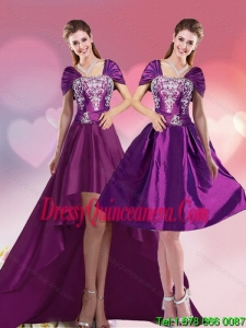 Vintage High Low Embroidery Prom Gown for 2015