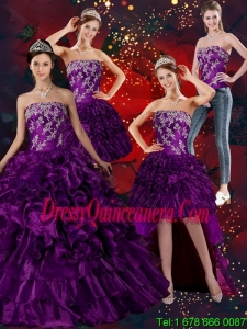 Vintage Strapless Ball Gown Quinceanera Dress with Embroidery and Ruffles