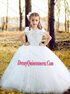 Fashionable Scoop Really Puffy Flower Mini Quinceanera Dress with Hand Made Flowers and Appliques