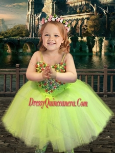 Most Popular Yellow Green Spaghetti Straps Mini Quinceanera Dress with Beading